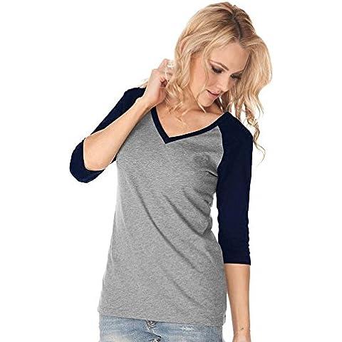 CU@EY Maglietta delle donne stile occidentale sette-manica contrasto colore v collo , ash + dark blue , big