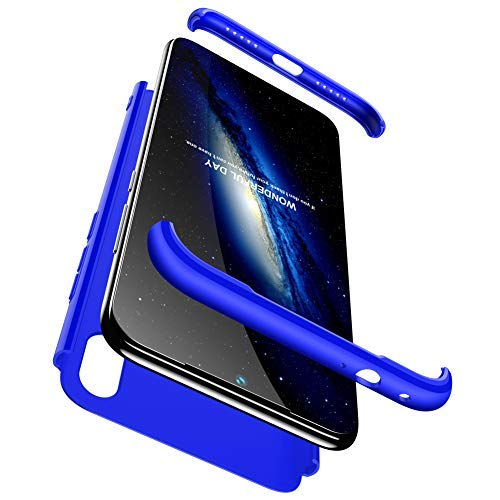 hyujia Compatible Xiaomi Redmi Note 7 Funda(2018) Carcasa 360° Ultra Fina Protectora cojín+Vidrio Templado Pantalla Protector,3 in 1 PC Hard Caja Caso Skin Case Cover Carcasa parai Redmi Note 7 Azul