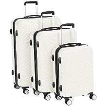 AmazonBasics 3 Piece Geometric Hard Shell Expandable Luggage Trolley Suitcase Set - Cream
