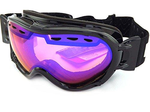 Bloc Spirit 3OTG über Brille Skibrille schwarz glänzend mit Blau verspiegelt Objektiv STW2