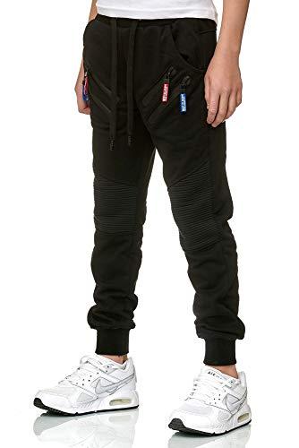XRebel Kinder Junge Jogging Hose Jogger Streetwear Sporthose Modell W09 (Schwarz, Gr.12(140~146)) -