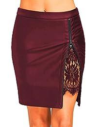 Sunenjoy Jupe Crayon Cuir, Jupe Femme Dentelle Jupe Courte Fille Zippée Jupe  Plissée Uniforme Robe de Soirée Courte Taille Haute… 021b327d9deb