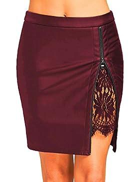 Gusspower Falda Mujer de Lápiz de Cuero PU Cintura Alta Mini Falda de Encaje con Cremallera Tamaño Estándar