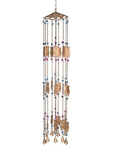 Store Indya Wrought Iron Wind Chimes Owl Motifs with Gems & Beads Wall Window Tree Hanging Decor