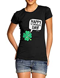 TWISTED ENVY Cute Clover St Patricks Day Women's Funny T-Shirt