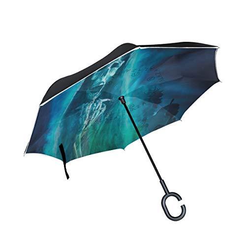 Soloatman Halloween-Dekoration, Winddicht, doppelschichtig, faltbar, umgekehrter Regenschirm, selbststehend, Regenschutz, Auto-Rückwärtsschirm, mit C-förmigem Griff (Einfache Halloween Dekorationen Im Innenbereich)
