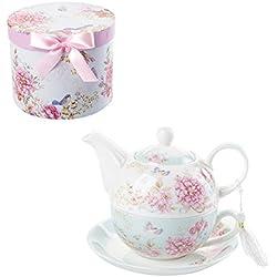 London Boutique Tea for One Théière, Tasse et Soucoupe, Style shaby Chic Flora Oiseau Rose Papillon boîte Cadeau en Porcelaine (Bleu)