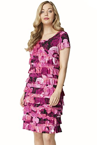 Roman Originals - Robe Volants Motif Floral Roses - Femme Rose
