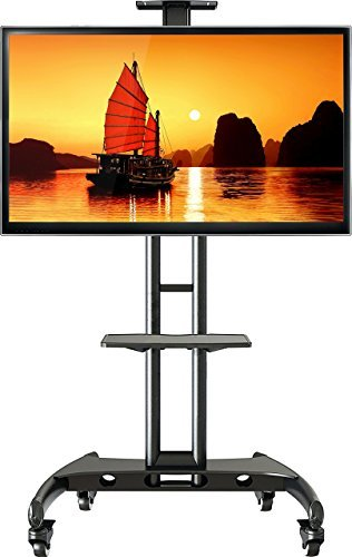 AVA1500-60-1P LCD LED Plasma Bildschirm TV Standfuss Trolley mobil,TV Wagen, Staender mit feststellbaren Rädern mit Kamera- und AV-Ablage, bis 65
