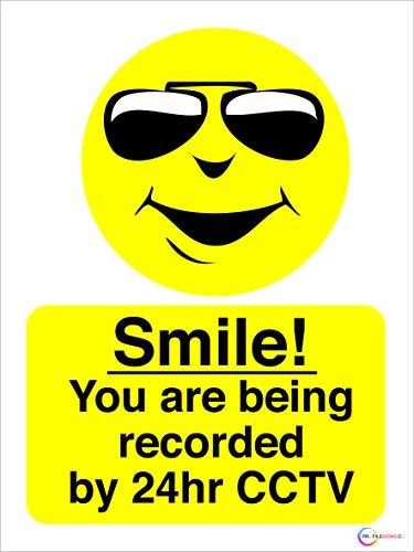 Profilesigns.co Smile Your Being Recorded On 24 Hour CCTV Schild - Wahl entweder aus Hart-PVC Selbstklebender Aufkleber/Fensteraufkleber (Rückseitendruck) Siebdruck