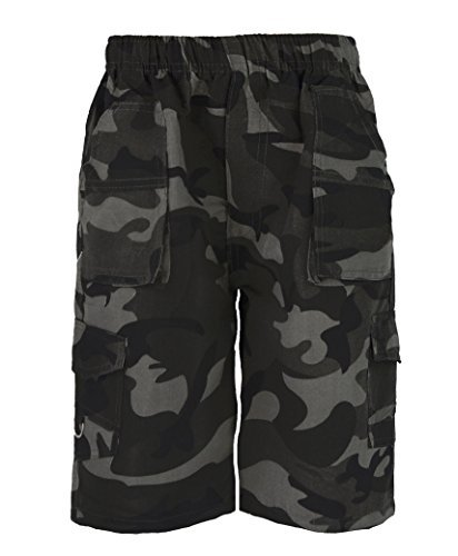0791 Camo Black 11-12 Y Boys Shorts & FREE GIFT Lotmart pen per parcel
