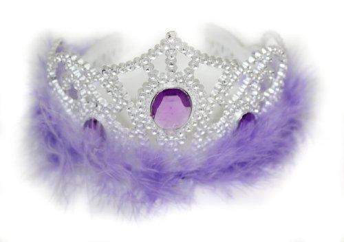 Glamour Girlz Niñas Plata Efecto de plástico Tiara Blanco Plumas y Joyas De Color Morado