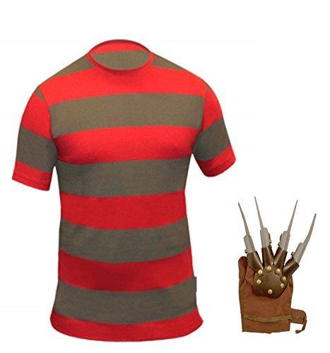 Kostüm Freddy Krueger Shirt und Claw (Handschuhe) da uomo:  Medium Red & (Krueger Kid Kostüme Freddy)