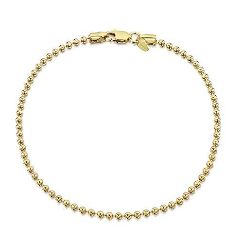 Amberta 925 Sterlingsilber Vergoldet 18K Armkette - Kugelkette Armband - 2 mm Breite - Verschiedene Längen: 18 19 cm (18cm)