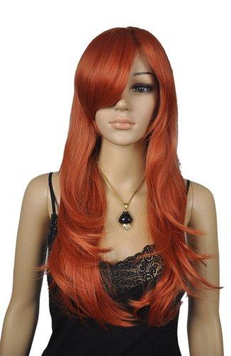QIYUN.Z Frauen Orange Rot Langen Gewellten Gerade Cosplay Kostüm Comic Con Volles Haar Perücke (Comic Kostüme Für Frauen)