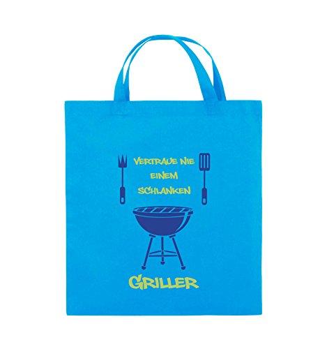 Comedy Bags - Vertraue nie einem schlanken Griller - Jutebeutel - kurze Henkel - 38x42cm - Farbe: Schwarz / Weiss-Neongrün Hellblau / Hellgrün-Royalblau