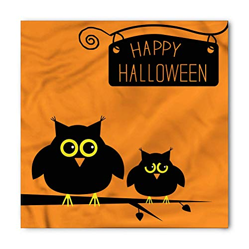 WYICPLO Halloween Bandana, Cute Funny Owls on Branch, Unisex Head and Neck Tie,23.6 * 23.6inch