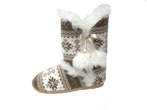 Calde Da Donna Dunlop Pantofole Beige