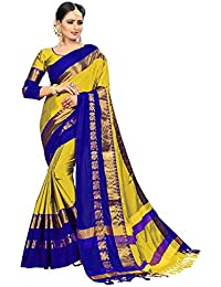 Vinayak Trendz Women's Paper Silk Embroidered Saree With Blouse Piece.