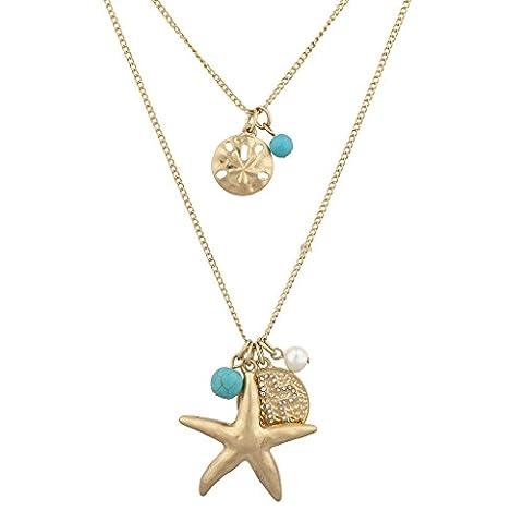 LUX Zubehör Nautisches goldfarbenes Und Türkis Seestern Perle Kreuz Layered
