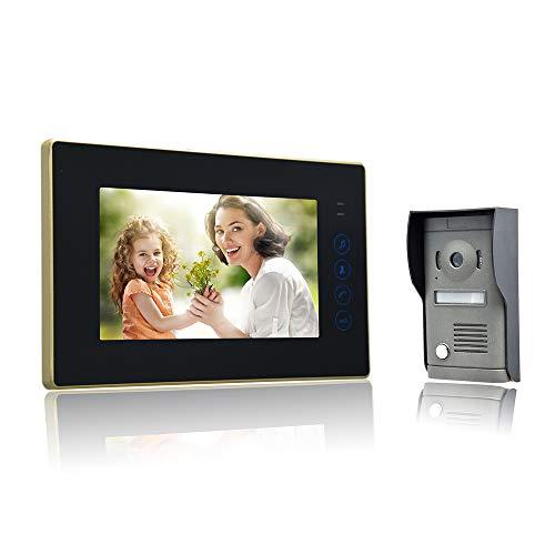 Nudito kit videocitofono universale con pulsante a sfioramento. video campanello porta (1 monitor lcd da 7