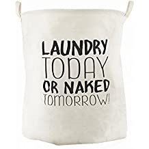 """CAM2 Cesto para guardar ropa sucia plegable, con forro impermeable, tamaño grande 19.7""""X15.8""""(50 cm""""X40cm,65L), de algodón,ramio,lona y arpillera,con forma de cubo cilíndrico (today)"""