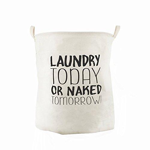 CAM2 Cesto para guardar ropa sucia plegable, con forro impermeable, tamaño grande 19.7'X15.8'(50 cm'X40cm,65L), de algodón,ramio,lona y arpillera,con forma de cubo cilíndrico (today)