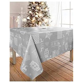 WJDhome – Mantel de navidad estampado con relieve, en gris, se limpia con un paño, de 140x 200cm.