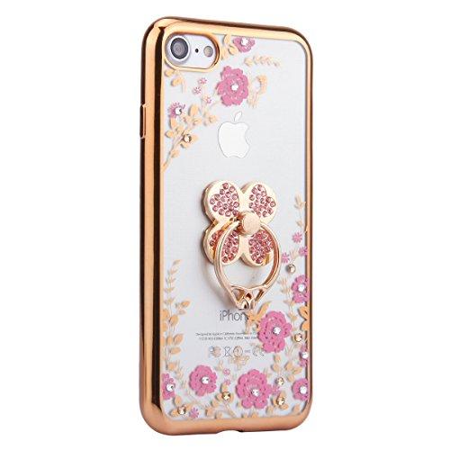 EUWLY Custodia per iPhone 6 Plus/iPhone 6s Plus (5.5), Cover Silicone Trasparente per iPhone 6 Plus/iPhone 6s Plus (5.5), EUWLY Clear Cristallo Chiaro Diamante Bling Glitter Fiori di Ciliegio Modell Fiori Rosa+Anello Foglia,Oro