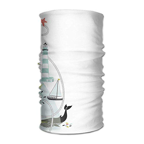 Woman's Man Turban Ornate Border Design with Maritime Elements Animals Lighthouse Whale Anchor Wheel Get Together Kerchief -