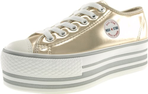 Maxstar C50 6 trous plate-forme basse table Trendy Chaussures-baskets Or - TC-Gold