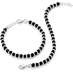 Shiyara Jewells 92.5 Sterling Silver Black Bead Crystal Set Of 2 Nazariya Bracelet For Kids Nz00001