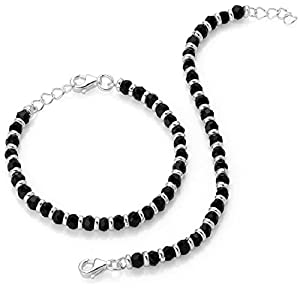 Shiyara Jewells 92.5 Sterling Silver Black Bead Crystal Nazariya Bracelet for Boys and girls – Set of 2