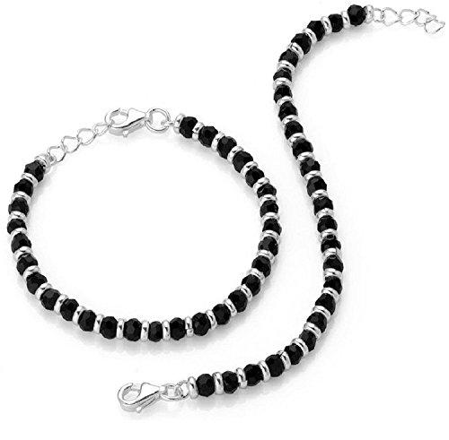 Shiyara Jewells 92.5 Sterling Silver Black Bead Crystal Nazariya Bracelet for Boys and girls – Set of 2