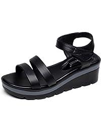KJJDE Mujer Sandalias De Cuña Verano QNML-8005 Fondo Plano De Velcro Exquisito De Moda Transpirable Sandalias...