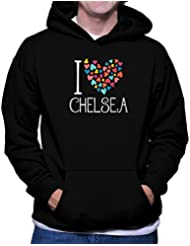 Sudadera con capucha I love Chelsea colorful hearts