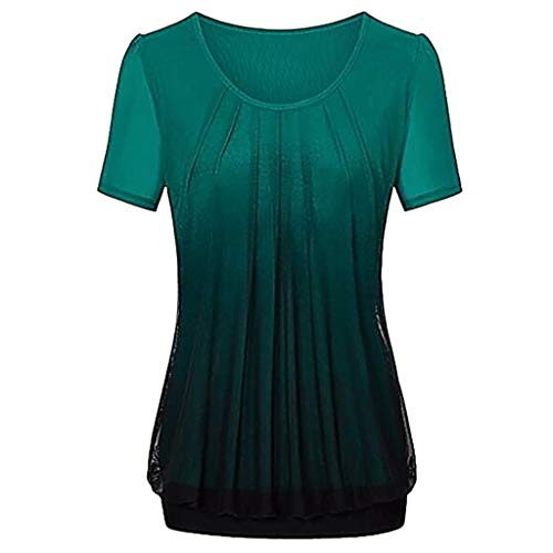 England Fußball-t-t-shirt (NPRADLA 2019 Damen beiläufige Steigung gedruckt Plissee Plus Größe Stammes T Shirt Tops Bluse(Grün-2,S))