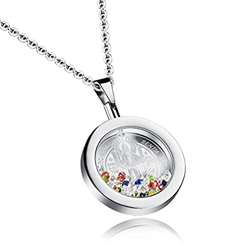 Fate Love Jewellery Womens 25mm Crystal Filled Round Pendant Guadalupe Medal Virgin Mary Necklace, 45cm Chain