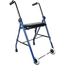 Mobiclinic Andador para Ancianos   Acero   Plegable   Fácil Uso y Transporte   Asiento Acolchado