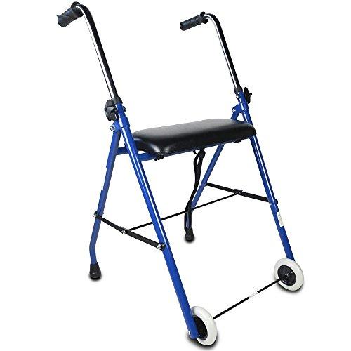 Mobiclinic Andador para Ancianos | Acero | Plegable | Fácil Uso y Transporte | Asiento Acolchado y empuñadura ergonómica | Peso máximo soportado 100 Kg | Modelo Emerita