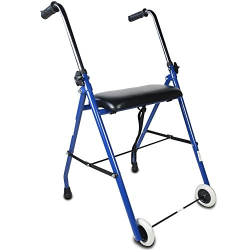 Andador para ancianos | Plegable | Asiento | 2 ruedas | Azul | Emérita | Mobiclinic