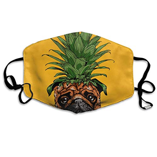Soft Earloop Mouth Mask, Dustproof Anti Flu Pollenm Germs Bacteria Smog Mouth-Muffle with Adjustable Elastic Band - Windproof Pineapple Pug Half Face Mouth Mask -