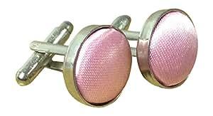 Unisexe couleur unie pour homme en satin rose no4 boutons de manchette en argent plaqué