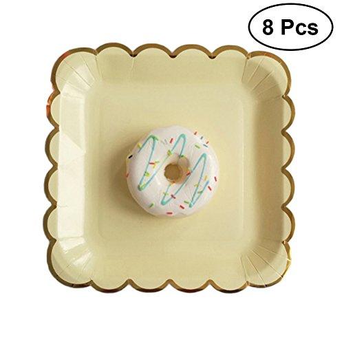 arty Pappteller quadratisch Pappteller für Baby Dusche Geburtstag Hochzeit Party Favor (gelb) ()