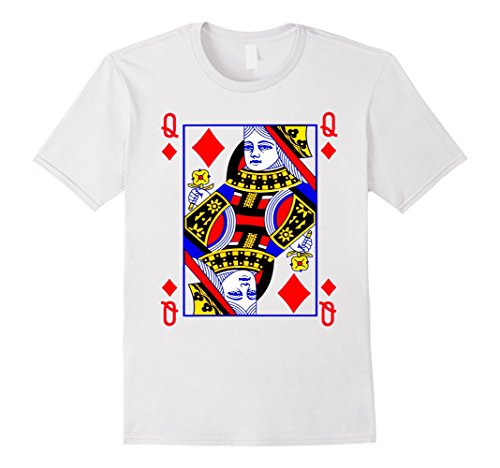 Card Queen Costume Playing (Queen of Diamonds Playing Card Poker Costume Card Tee Shirt Herren, Größe M)