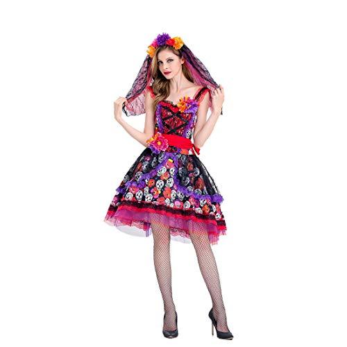 HOOLAZA Frauen Multicolor Skelett Schwarze Braut Kostüm Sexy und Hübsches Ärmelloses Cosplay Kleid 3 Stücke Kostüm Set