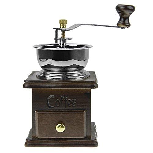 Retro Holz- Manuelle Kaffeemühle, Hand Kaffeemühle Keramik-Mahlwerk Espresso-Mühle Mahlgradeinstellung Kaffee Mühle Silber (Holz Hand-kaffeemühle)