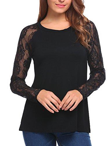 Zeagoo Damen T-Shirt mit Floral Spitze Langarmshirt Spitzenshirt Top Bluse Shirt Tunika Hemd (A_Schwarz, EU 42/XL) (Floral Schwarz Shirt)