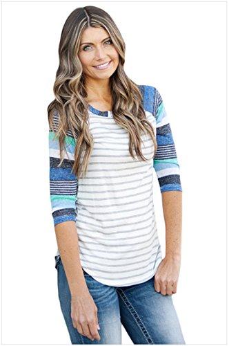 Minetom Donna Casuale Maglia Floral Stampata Striped Camuffamento Girocollo Manica Lunghe Grande Maniche Camicetta Maglietta Camicie Blouse T-shirt Top Blu