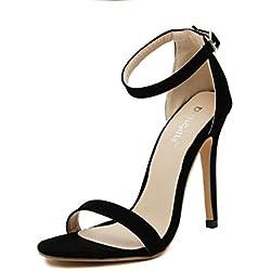 Schiveen Elegant Damen High Heels Knöchelriemchen Schnalle Stiletto Pumps Hohe Absatz Sandalen (35, Schwarz)